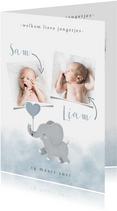 Geboortekaartje olifantje tweeling met en waterverf