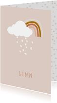 Geboortekaartje regenboog roze