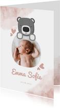 Geboortekaartje roze met foto, beer en waterverf