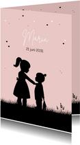 Geboortekaartje silhouet meisje met zusje