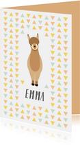 Geboortekaartje te schattige alpaca voor meisjes