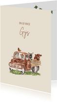Geboortekaartje truck met boerderij dieren en een jongetje