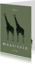Geboortekaartje tweeling giraffen lijntekening