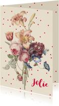 Geboortekaartje vintage bloemen in pastelkleur met stippen