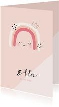 Geboortekaartje voor een meisje met regenboog illustratie