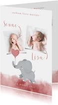 Geboortekaartje voor een tweeling met olifantje met ballon