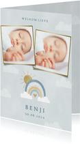 Geboortekaartje voor jongetje met foto's regenboog & wolkjes