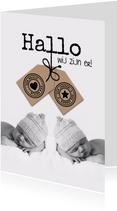 Geboortekaartje voor tweeling met labels