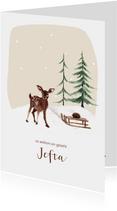 Geboortekaartje winter hert sneeuw met slee en egel