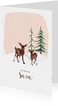 Geboortekaartje winter hertjes in de sneeuw en dennenbomen