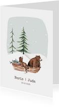Geboortekaartje winter tweeling beren in een bootje