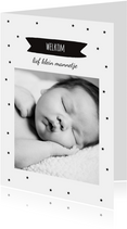 Geboortekaartje zwart-wit sterretjes