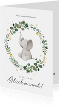 Geburt Glückwunschkarte Kranz mit Elefant