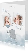 Geburts-Danksagung Zwilling Fotos & hellblauer Elefant