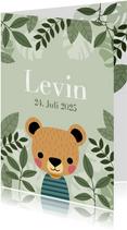 Geburtskarte Bär botanisch mit Foto innen