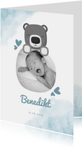 Geburtskarte blau Wasserfarbe mit Foto & Bär