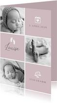 Geburtskarte / Dankeskarte altrosa Fotocollage grafisch