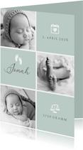 Geburtskarte / Dankeskarte grün Fotocollage grafisch