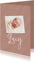 Geburtskarte eigenes Foto altrosa Zweige