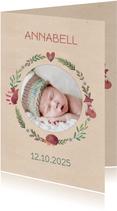 Geburtskarte Foto in Kranz aus Tieren und Blättern