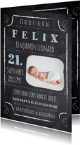 Geburtskarte Kreidetafel mit Foto blau