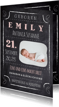 Geburtskarte Kreidetafel mit Foto rosa
