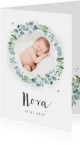 Geburtskarte mit Foto in Kranz botanisch