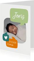 Geburtskarte mit Foto und Sprechblasen