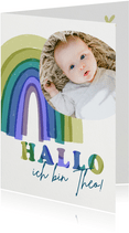 Geburtskarte Regenbogen blau Baby