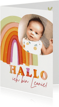 Geburtskarte Regenbogen pink Baby