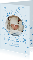 Geburtskarte rundes Foto und Sterne blau