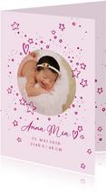 Geburtskarte rundes Foto und Sterne