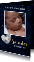 Geburtskarte Sternenhimmel mit Foto und Herz