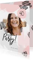 Geburtstagseinladung Foto und rosa Farbstreifen
