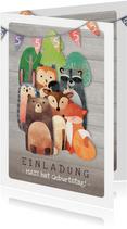 Geburtstagseinladung für Kinder Waldgeburtstag