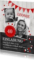 Geburtstagseinladung Kontraste rot mit Foto