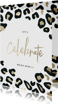 Geburtstagseinladung 'Let's celebrate' mit Leopardenprint
