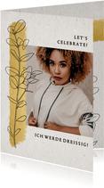 Geburtstagseinladung mit Foto, Streifen in Goldlook & Zweig