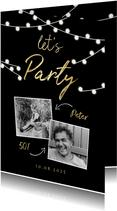 Geburtstagseinladung mit Fotos und Lichterketten