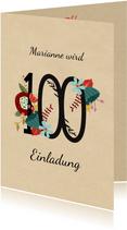 Geburtstagseinladung mit großer Blumenzahl 100