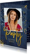 Geburtstagseinladung 'Party' goldene Schrift mit Foto