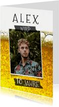 Geburtstagseinladung Porträt auf Bier