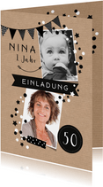Geburtstagseinladung Wimpel und Konfetti modern