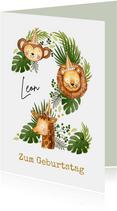 Geburtstagskarte 2. Geburtstag wilde Tiere