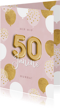 Geburtstagskarte 50. Geburtstag rosa & gold