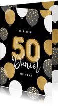 Geburtstagskarte 50. Geburtstag schwarz & gold