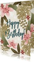 Geburtstagskarte Blätter und Blüten