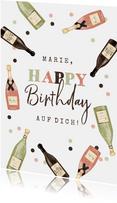Geburtstagskarte Champagner und Wein
