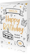 Geburtstagskarte Doodles Foto innen