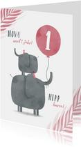 Geburtstagskarte Elefanten mit rosa Luftballon